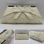 bridal clutch made from  wedding dress/Repurposed wedding dress/Heirloom bridal clutch purse/Gift for bride
