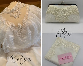 Wedding dress purse bag ,reuse wedding gown, keepsake gift bag for daughter, Gift for her, Personalized purse bride to be