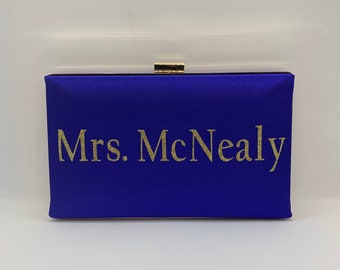 Personalized Royal blue satin bridal clutch purse with golden glitter , Something blue, Gift for her, Mrs Minaudière