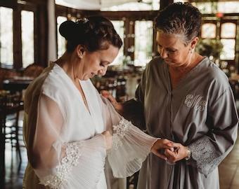 Lace robe for brides, repurposed from wedding dress, custom made, keepsake gift for her, heirloom gift,  bridal lingerie, lined  kimono