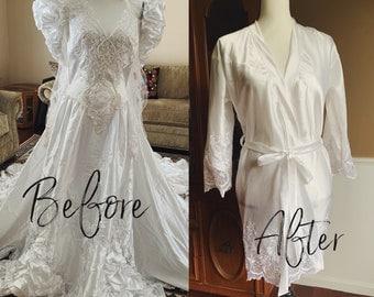 Bridal Satin robe, repurposed entirely from your wedding dress, custom made, keepsake gift for her, heirloom gift,  bridal lingerie, kimono