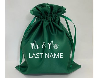 Personalized emerald  green Satin dollar dance bag for wedding, money string bag bride, customized Mrs pouch