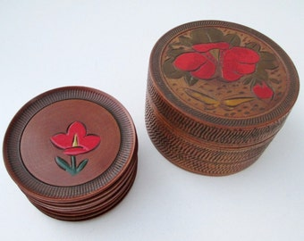 Wood Floral Coaster Set (8) - Made in Occupied Japan