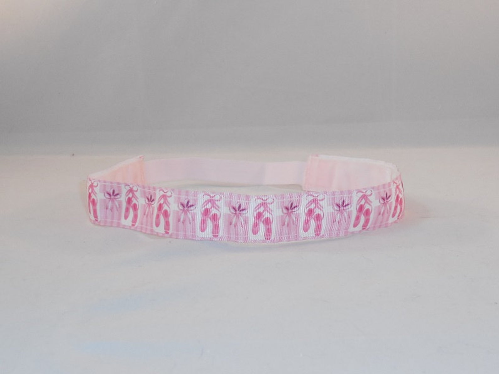 non-slip headband made with pink ballet shoe inspired ribbon