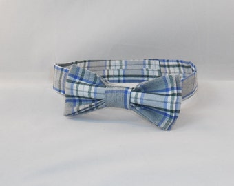 Green, Blue And White Plaid Adjustable Mens' Bow Tie