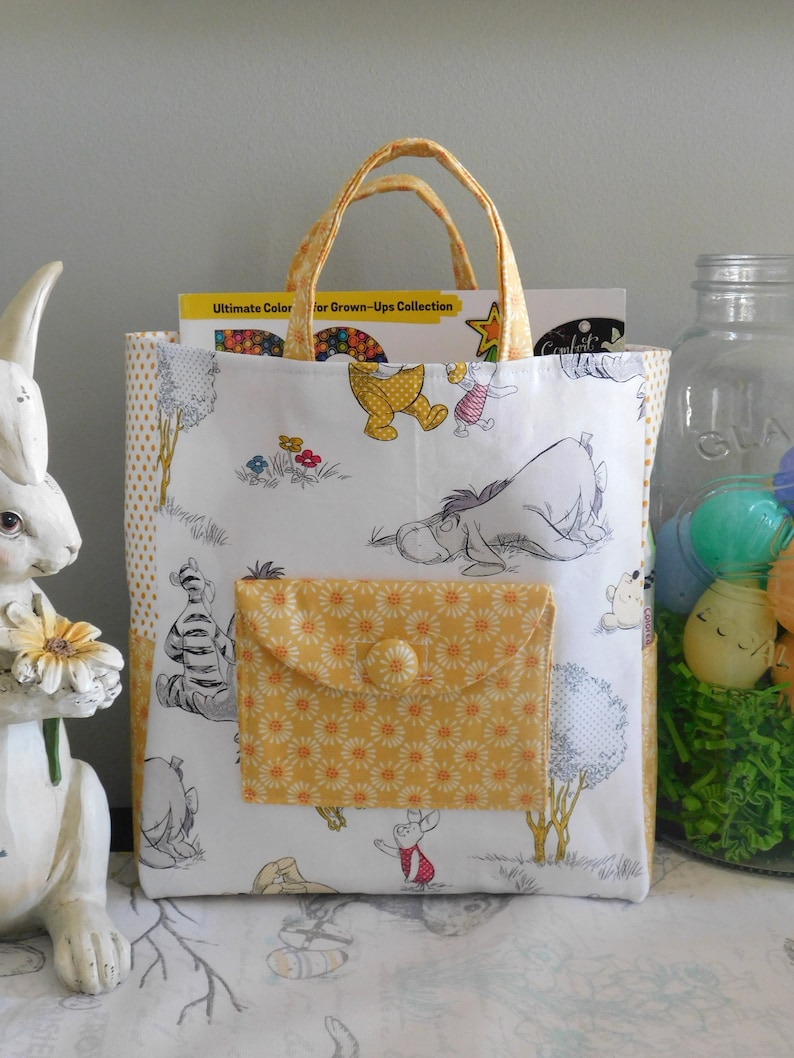 Children/'s Tote Bag Made With Winnie The Pooh Inspired Fabric