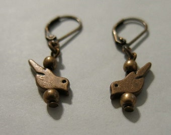 Copper Bird Pierced Earrings