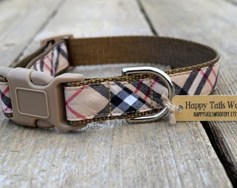 """Holiday Plaid Dog Collar. 1"""" wide, available in M, L, XL"""