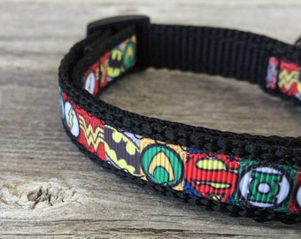 """Superhero Dog Collar. 5/8"""" wide, available in S, M, L"""