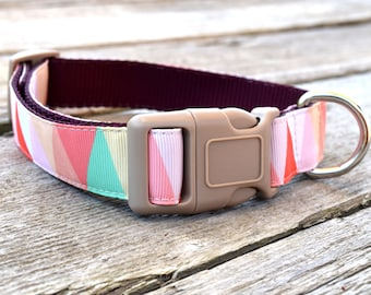 "Geometric Pastel Dog Collar. 1"" wide, available in M, L, XL"