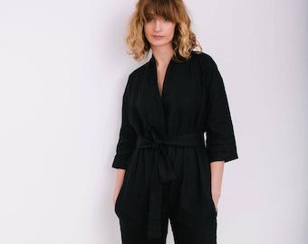 3b01374ecfe Black Jumpsuit - Linen Overall - Linen Jumpsuit - Linen Romper - Women  Overall - Handmade by OFFON
