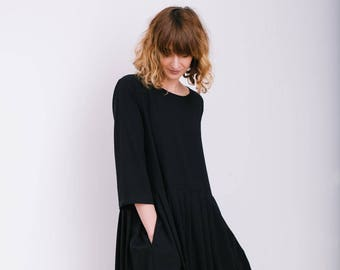 Loose Dress - Black Oversize Dress  - Oversize Dress - Loose Fit Dress - Handmade by OFFON