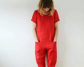 OFFON / Linen Jumpsuit / Linen Apparel / Linen Jumper / Jumpsuit For Women / Red Jumpsuit / Women Overall / Linen Romper