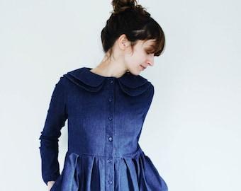 Denim Dress - Indigo Dress - Double Collar Dress - Full Gathered Skirt Dress - Handmade by OffOn