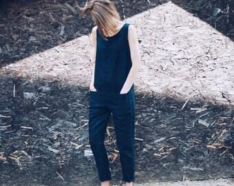 Linen Jumpsuit - Linen Overall - Dark Navy Blue Linen Overall - Women Overall -  Handmade by OFFON