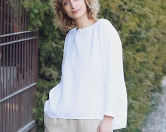3be616b6f62 Linen long sleeve blouse in white OFFON CLOTHING