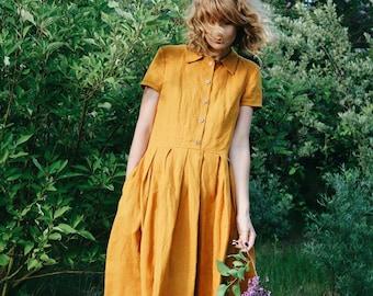 Linen Dress - Mustard Linen Dress - Shirt Linen Dress - Short Sleeved Linen Dress - Handmade by OFFON