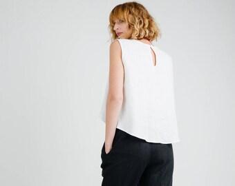 50031fea935 Linen Blouse - White Linen Sleeveless Blouse - White Loose Fit Blouse -  Sleeveless Linen Top - Women Linen Top - Handmade by OFFON
