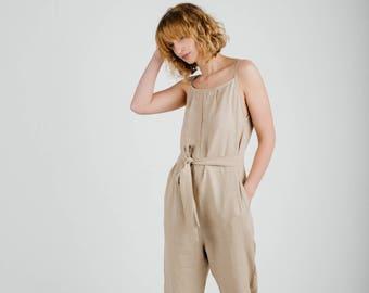 d7c8f83d4c17 Ready To Ship  Linen jumpsuit Linen Women Overall  Linen Romper   Comfortable fit  Medium weight  OFFON CLOTHING