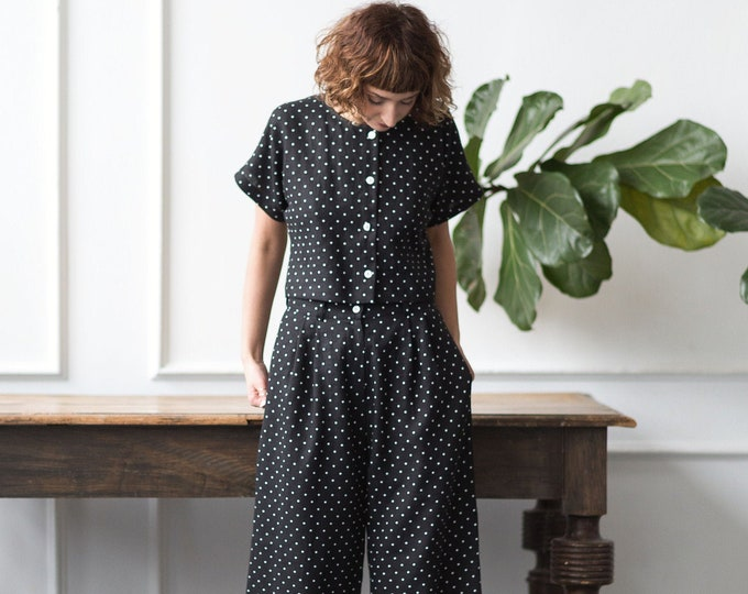 Linen Suit in Polka Dot / Linen Culottes and Cropped Linen Blouse Set / OFFON Clothing