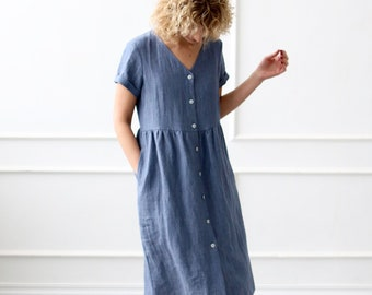 Robe En Lin Avec Fermeture à Bouton En Denim Bleu Couleur/OFFON Vêtements