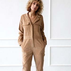 Corduroy long sleeve jumpsuit  Long sleeve cord coverall  Needlecord jumpsuit  OFFON CLOTHING