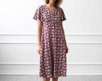Robe à Fleurs Avec Manches Volantées En Couleur Bordeaux/OFFON Vêtements