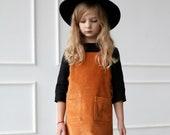 Pinafore girls dress / Corduroy pinafore dress / OFFON CLOTHING