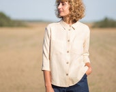Classic linen shirt in ivory/OFFON CLOTHING