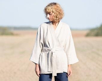 128f931596 Linen kimono-style jacket in a woven herringbone print OFFON CLOTHING