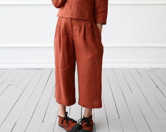 Linen culottes for girl/OFFON CLOTHING