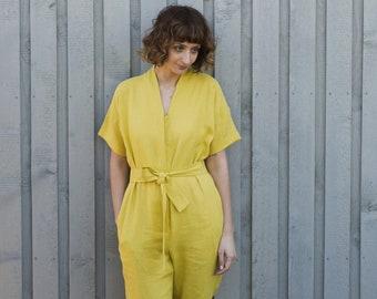Lime Yellow Linen Kimono Jumpsuit/Short Sleeve Linen Overall/Kimono Jumpsuit/Handmade by OFFON