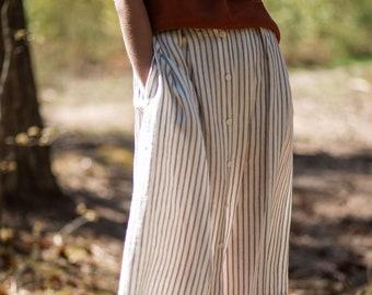 Linen Women Skirt/Striped Linen Skirt/Midi Length Skirt/Handmade by OFFON
