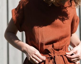 Rustic Linen Dress/Redwood Linen Dress/Short Sleeve Dress/Summer Dress/Tie belt Linen Dress/Handmade by OFFON
