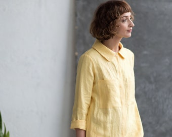 Linen Playsuit - Yellow Linen Jumpsuit - Women Playsuit - Long Sleeve Jumpsuit -  Handmade by OffOn