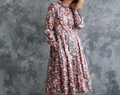 Floral print long sleeve dress in Tana Lawn cotton - Liberty of London /OFFON CLOTHING
