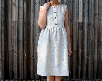 35227b0e7c92 Linen Dress - Striped Linen Dress - Organic Linen Dress - Sleeveless Dress  - Linen Women Dress - Handmade by OFFON