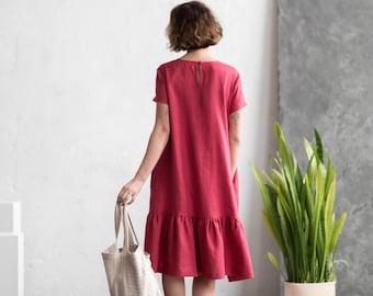 Raspberry Linen Dress - Linen Summer Dress - Frilled Dress - Loose Fit Dress - Handmade by OFFON