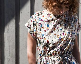 Tour De France Dress/Summer Dress/Organic Cotton Dress/Handmade by OFFON