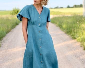 Robe En Lin Avec Volants Manches En Turquoise Clair Couleur/OFFON Vêtements