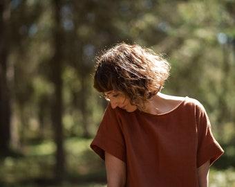 Redwood Linen Top/Short Sleeve Top/Linen Blouse/Women Top/Rustic Color Blouse/Handmade by OFFON