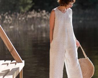 Striped Jumpsuit/Sleeveless Jumpsuit/Oversize Linen Overall/Wide Leg Jumpsuit/Linen Romper/Handmade by OFFON
