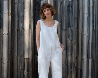 Jumpsuit - Linen Jumpsuit - Striped Jumpsuit - Striped Linen Overall - Wide Leg Jumpsuit - Linen Romper - Handmade by OFFON