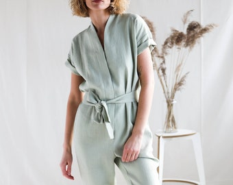 Linen jumpsuit in sage green / OFFON CLOTHING