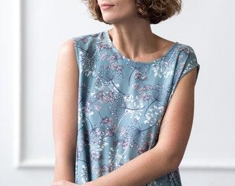 Summer Dress - Floral Print Dress - Floral Dress - Sleeveless Cotton Dress - Handmade by OFFON
