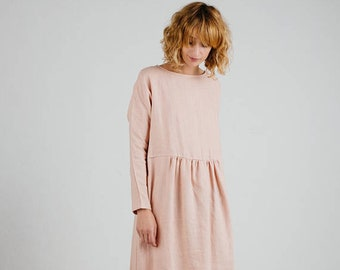 01526c9fac5 Linen Dress In Dusty Rose - Linen Dress With Long Sleeve - Handmade by OFFON