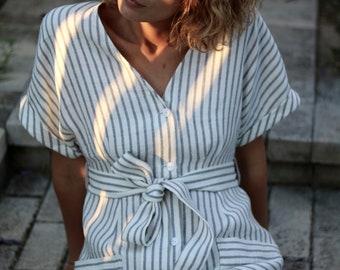 4e4b16f544 Linen dress  Linen Tie Belt Dress  Linen Dress With Buttons Closure   OFFON  CLOTHING