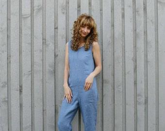 ce8ed874d Linen Women Jumpsuit - Light Blue Linen - Linen Overall - Organic Linen  Romper - Linen Jumper - Blue Jumpsuit - Handmade by OFFON