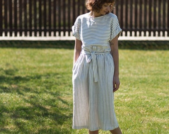 b65cd0e199 Linen dress   Striped Linen Tie Belt Dress   Women Linen Dress   Handmade  by OFFON CLOTHING