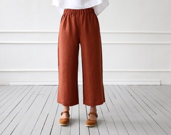 29bb2527ac23 Wide leg linen culottes in redwood/OFFON CLOTHING